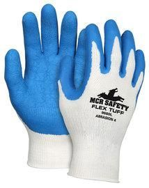 Memphis Medium FlexTuff® 10 Gauge Abrasion Resistant Blue Latex And Rubber Dipped Palm And Finger Coated Work Gloves With Cotton And Polyester Liner And Knit Wrist