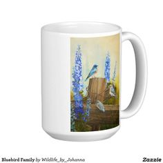 "Bluebird Family Classic White Coffee Mug. Designed from my original oil painting ""Bluebird Family And Delphiniums"" by Johanna Lerwick Wildlife/Nature Artist."