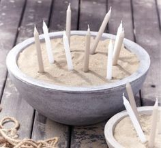 concrete bowls with sand and candles [outdoor candlescapes] Sand Candles, Outdoor Candles, Candle Lanterns, Outdoor Lighting, Garden Candles, Candle Decorations, Beeswax Candles, White Candles, Pillar Candles