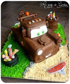 Mater Tutorial for Justus Cupcakes, Cake Cookies, Cupcake Cakes, Cake Icing, Fondant Cakes, Torta Blaze, Mater Cake, Gateau Harry Potter, Dessert Original