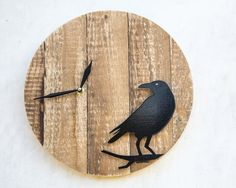 Pallet Wood Wall Clock Raven by DesignAtelierArticle on Etsy