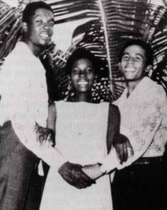 Peter Tosh, Bob  Marley, and Rita Marley at younger ages
