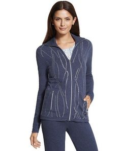 So much more than a casual Zenergy jacket with luxe stretch cashmere feel, metallic details and embellishments.