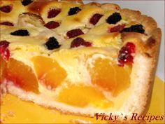 Tartă rapidă cu fructe (piersici) | Vicky's Recipes New Recipes, Cake Recipes, Dessert Recipes, Romanian Desserts, Sweet Tarts, Bakery, Cheesecake, Deserts, Food And Drink