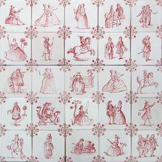 Delft Tiles - Ladies and Gentlemenin pink - Douglas Watson Studio co.