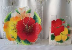 Art Glass Fussion Plate Set Wall Hanging Hawaii