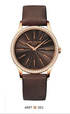 Ref. 4897R-001 Ladies Calatrava, Manually wound movement, Rose gold, Chocolate brown guilloched dial.