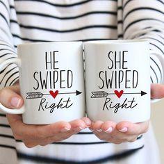 Tinder Coffee Mug, He Swiped Right She Swiped Right, Swiped Right Mug, Boyfriend Gift, Love at First Swipe Mug, Funny Couples Mugs Couple Mugs, Couple Gifts, Engagement Gifts For Couples, Funny Couples, Boyfriend Gifts, First Love, Tinder, Coffee, Tableware