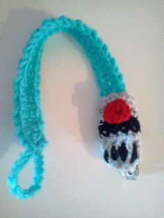 Blue Lightsaber Crocheted Pacifier Clip by KMProductions on Etsy, $10.00