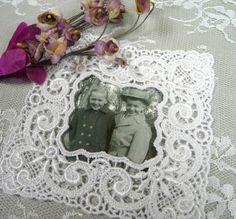 Lace Picture Frame Applique White for Crafts Wedding Album Embellishment Altered Art Scrapbooks Vintage Style Venise Lace Picture Mat