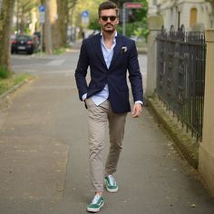 @justusf_hansen - with a business casual look (most likely Friday) with green suede old skool vans tan chinos navy blazer light blue button up shirt sunglasses pocket square #businesscasual #vans #summeroutfits #menswear #mensfashion #menstyle #oldskool #mensapparel
