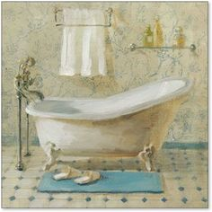 Bring a vintage feel into your bath décor with the Global Gallery Victorian Bath III Giclee Canvas Wall Art . Artist-grade canvas is gallery-wrapped. Canvas Artwork, Canvas Wall Art, Canvas Prints, Art Prints, Canvas Paintings, Victorian Bath, Victorian Interiors, Victorian House, Retro