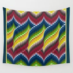 Bargello quilt style wall tapestry, gift for quilter, embroiderer, blue, green, red, gold yellow, ombre, home decor, living room, bedroom