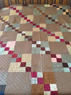 Antique Four Patch Quilt Brown Black Indigo Red Burgundy Orange Muslin Unwashed, eBay, tx_geemaw
