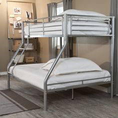 Yes, this Modern Twin over Full size Bunk Bed in Silver Metal Finish is perfect in a shared kids room, but think of its other applications. It can blend effortlessly into a one-kid room or even dorm r Full Size Bunk Beds, Bunk Beds With Storage, Metal Bunk Beds, Bunk Beds With Stairs, Cool Bunk Beds, Kids Bunk Beds, Bed Storage, Modern Bunk Beds, Bunk Bed Designs