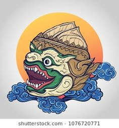 Explore high-quality, royalty-free stock images and photos by iLoveCoffeeDesign available for purchase at Shutterstock. Thailand Tattoo, Thailand Art, Art And Illustration, Hanuman Tattoo, Bull Skull Tattoos, Khmer Tattoo, Japanese Tattoo Art, Asian Tattoos, Thai Art