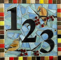 Custom Made Mosaic House Numbers Signs. Mosaic Diy, Mosaic Garden, Mosaic Crafts, Mosaic Projects, Glass Mosaic Tiles, Mosaic Animals, Mosaic Birds, Stained Glass Patterns, Mosaic Patterns