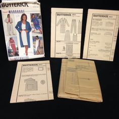 Uncut Butterick Pattern 6631 Misses Coatdress Dress Top Skirt Pants VTG 8 10 12