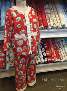 Fabric inspiration to sew fun and festive holiday clothes and pajamas for your little one using Oliver + S patterns.