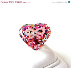 ON SALE Candy heart ring rainbow sprinkles by sparklecityjewelry