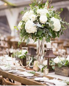 white and green rustic centerpieces in Vail featuring roses and hydrangea by Plu. white and green rustic centerpieces in Vail featuring roses and hydrangea by Plum Sage Flowers - photo via IN Photograph. White Hydrangea Centerpieces, Green Wedding Centerpieces, White Flower Arrangements, Wedding Table Flowers, Rustic Centerpieces, Hydrangea Wedding Arrangements, Hydrangea Wedding Flowers, White Hydrangea Bouquet, White Centerpiece