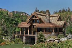 Log Home | Outdoor Space in a Log Home: The Alderbrook | PrecisionCraft Log Homes ...