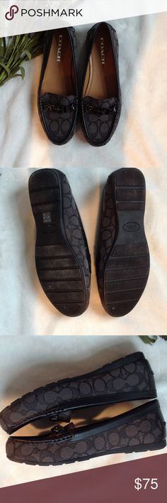 Coach NWOB signature loafers size 7.5 NWOB track and black loafers.  Has sliver name plate on top of toes.  Canvas material like many of there signature purses. Coach Shoes Flats & Loafers
