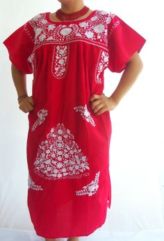 Rosalinda  Red  Vintage 70s Rojo Mexican Dress with Authentic Embroidery, Dress, vintage floral mexican, Bohemian Boho Hippie summer Dress