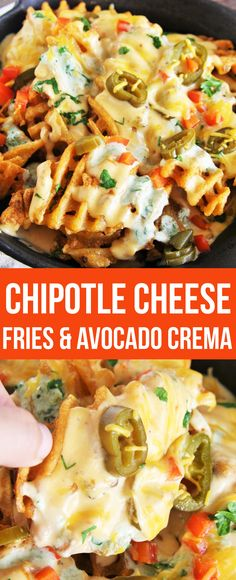 Smothered with spicy, smoky cheese sauce and cooling avocado crema, these chipotle cheese fries are sure to satisfy! #vivalamorena #ad