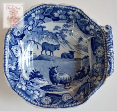 Antique, late 18th or early 19th century Stoke Upon Trent blue pearlware transferware side handled pickle or relish dish in unknown pattern, possibly Minton, Davenport or Wedgwood. It is not uncommon