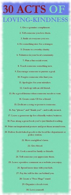 30 Acts of Loving-Kindness