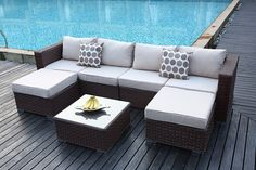 Yakoe 50131 Papaver 6 Seater Garden Furniture Patio Conservatory Rattan Corner Sofa Set with Coffee Table and Stools - Brown: Amazon.co.uk: Garden & Outdoors