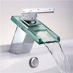 Picture of Modern Contemporary Waterfall Basin Faucet With Single Handle Bathroom Taps with the Oblong Shape Spout (MS19)