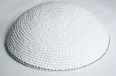 kippah white with silver edge by crochetkippah on Etsy