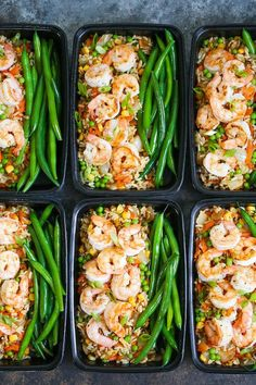 Shrimp Fried Rice Meal Prep - No need to order takeout anymore! Your favorite fr. Shrimp Fried Rice Meal Prep - No need to order takeout anymore! Your favorite fried rice dish is packed right into meal prep boxes for the entire week! prep for the week Clean Eating Snacks, Healthy Snacks, Healthy Eating, Healthy Food Prep, Healthy Dishes, Healthy Weekly Meal Prep, Healthy Drinks, Good Healthy Meals, Healthy Lunch Ideas