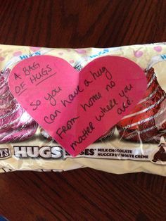 Valentines care package. A bag of hugs from home!  SAM