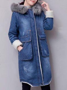 edf9e619bd Casual Big Pockets Fluffy Hooded Women Denim Thick Jackets