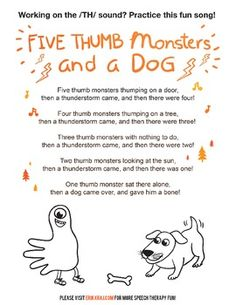 Five Thumb Monsters and a Dog - /TH/ Articulation Activity