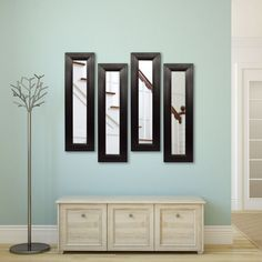 Rayne Mirrors Molly Dawn Stitched Leather Wall Mirror Black - P38/6-34 S3