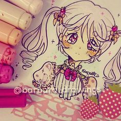 D0odle inspired by my profile picture >u< i love strawberries and i wish i was as sweet as them~ btw, what's yours favorite fruit? ❤❤ Another copics set arrived today!! They are copics sketch, and i can't wait to test them out!! ♡♡ Anyway, i hope you guys like this one  . #barbara_drawings #d0dle #strawberrys #sweet #instaart #instaartist #quickly #profile #picture #featuremehoneyrose #arts_phans