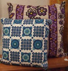 Two funky retro cushions using original 1960's 70's fabric.