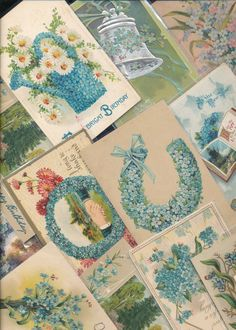 Nice Lot of ~25 VICTORIAN FORGET-ME-NOTS blue~ FLOWERS greetings Postcards-a423 #greetings