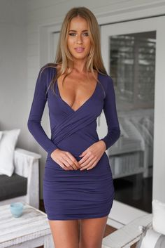 Navy blue V neck body con dress with sleeves