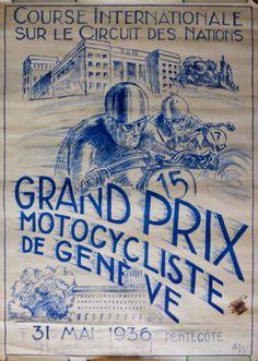 Vintage Motorcycle Poster : 31 May 1936 Grand Prix De Geneve