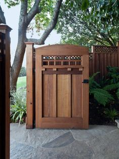 craftsman style homes craftsman style fence landscape with front gate traditional doorbell buttons Wooden Garden Gate, Wooden Gates, Wooden Fence, Cedar Fence, Cedar Gate, Wood Fence Gates, Fence Art, Diy Fence, Side Gates