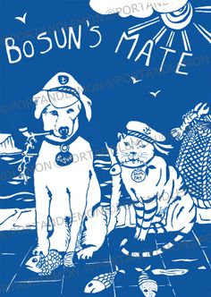 Bosun's mate design by Tracy Evans, available as a print, greeting card, keyring and fridge magnet