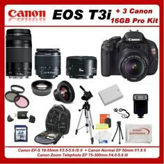 Canon EOS Rebel T3i 3 Lens Pro Kit Featuring Canon 18-55mm IS Lens + Canon EF 75-300mm III Lens + Canon Normal EF 50mm f/1.8 II Autofocus Lens, Also Includes: 0.45x High Definition Wide Angle Lens & 2x Telephoto HD Lens, 16GB SDHC Memory Card & Reader, Dedicated Shoe Mount Flash, Replacement LP-E8 Battery, Deluxe Backpack and Much More... by Canon, http://www.amazon.com/dp/B005J4QHAO/ref=cm_sw_r_pi_dp_BJl5pb1Y634WF