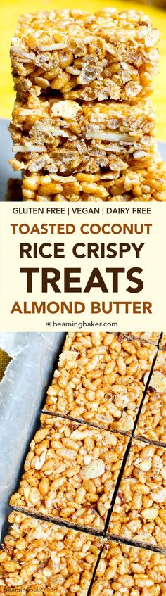 Toasted Coconut Almond Rice Crispy Treats (V+GF): an easy, 5 ingredient recipe for sweetly satisfying, protein-packed toasted coconut rice crispy treats. #Vegan #GlutenFree #DairyFree | http://BeamingBaker.com