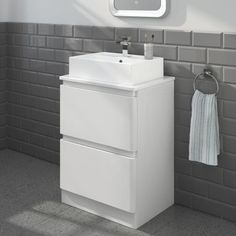 THIS IS THE ONE!!!! 600mm Denver Gloss White Countertop Unit & Elisa Basin - Floor Standing