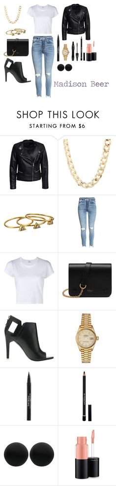 """Madison Beer"" by pezzaqueenofstyle ❤ liked on Polyvore featuring Sisters Point, Charlotte Russe, Gorjana, RE/DONE, Mulberry, Alepel, Rolex, Lancôme, Trish McEvoy and Givenchy"